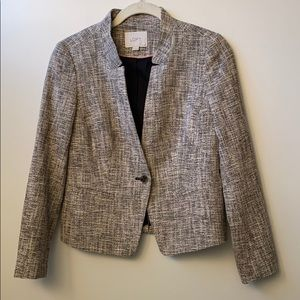 LOFT Brown & Cream Tweed Blazer Jacket, Size 4P